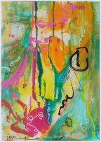 walking on the sunny side . Mixed media .25x35cm